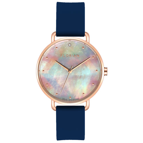 Candy Diamond Colorful MOP Dial Navy Blue and Rose Gold Watch | 36mm
