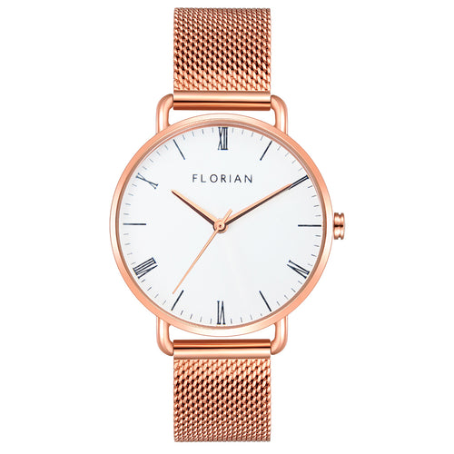 Classic Roman Silver White Dial Rose Gold Mesh Watch | 36mm