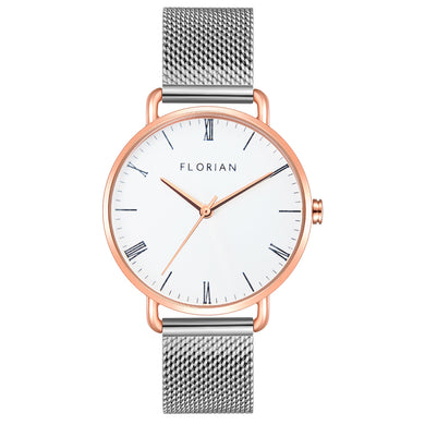 Classic Roman Silver White Dial Rosy Gold Silver Chic Mesh Watch | 36mm