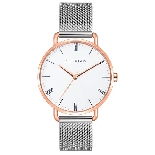 Classic Roman Silver White Dial Silver and Rose Gold Mesh Watch | 36mm