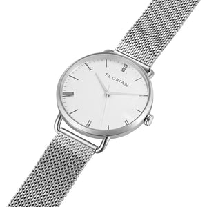 Classic Roman Silver White Dial Silver Chic Mesh Watch | 36mm