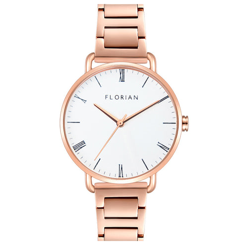 Classic Roman Silver White Dial Rose Gold Bracelet Watch | 36mm