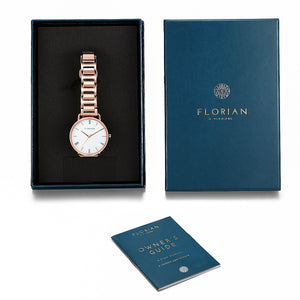 Classic Roman Silver White Dial Rosy Gold Bracelet Watch | 36mm