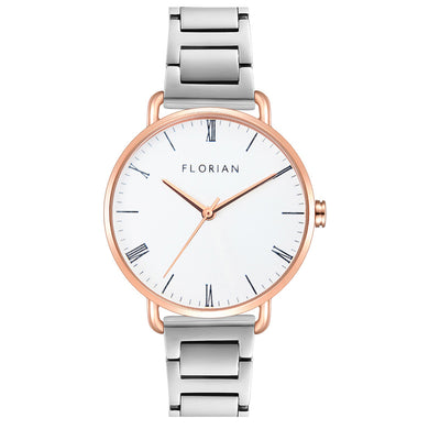 Classic Roman Silver White Dial Rose Gold Silver Bracelet Watch | 36mm