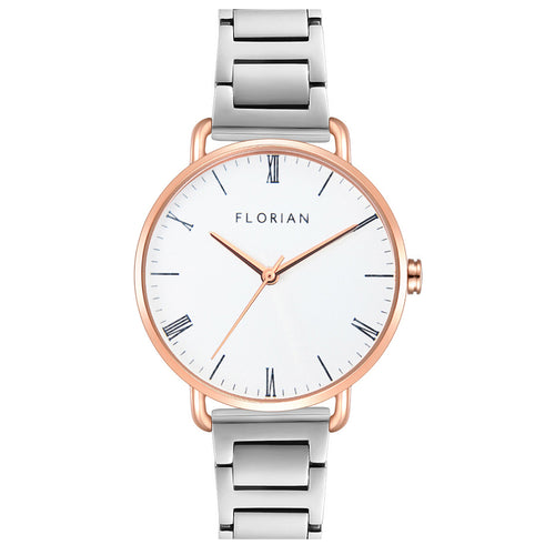 Classic Roman Silver White Dial Silver and Rose Gold Bracelet Watch | 36mm
