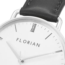 Classic Roman Silver White Dial Silver Chic Eagle Black Strap Watch | 36mm