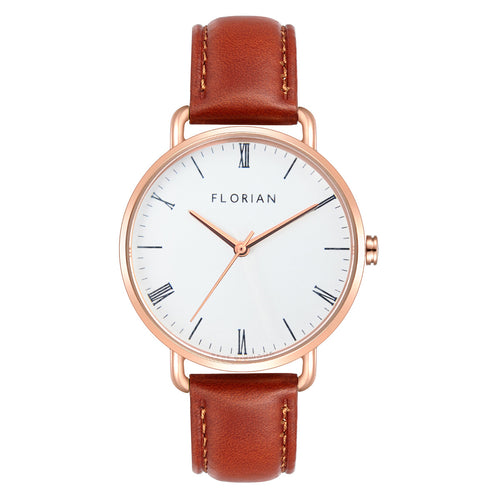 Classic Roman Silver White Dial Timber Tan and Rose Gold Watch | 36mm