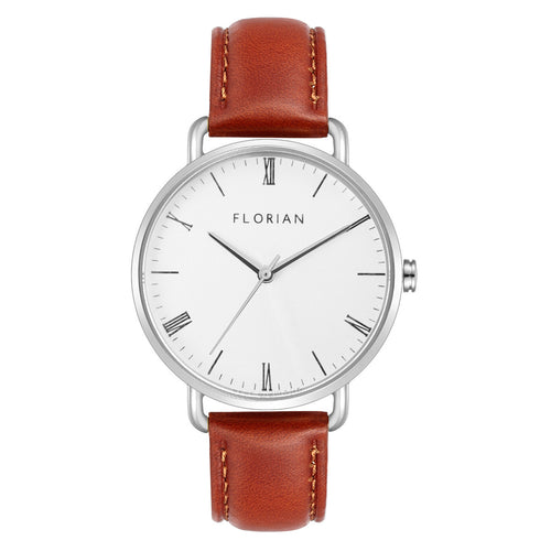 Classic Roman Silver White Dial Timber Tan and Silver Watch | 36mm