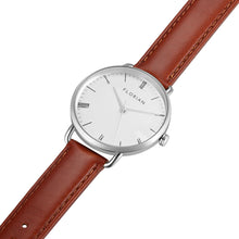 Classic Roman Silver White Dial Silver Chic Timber Tan Strap Watch | 36mm