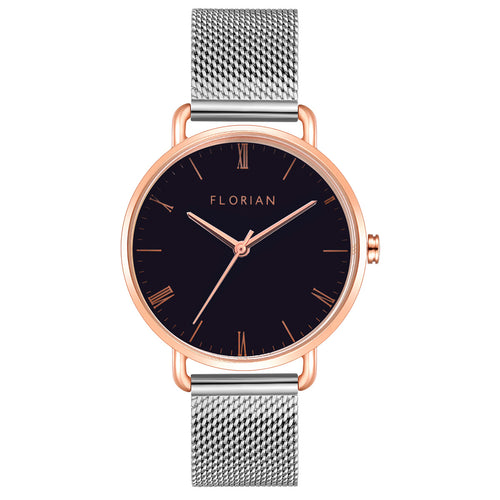 Classic Roman Black Dial Silver and Rose Gold Mesh Watch | 36mm
