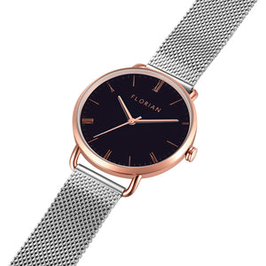 Classic Roman Black Dial Rose Gold Silver Mesh Watch | 36mm