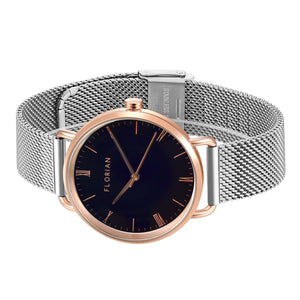 Classic Roman Black Dial Rosy Gold Silver Chic Mesh Watch | 36mm