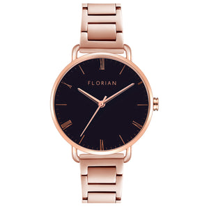Classic Roman Black Dial Rose Gold Bracelet Watch | 36mm