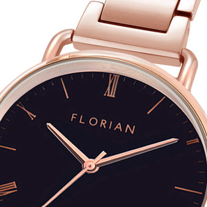 Classic Roman Black Dial Rosy Gold Bracelet Watch | 36mm