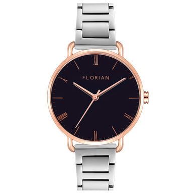Classic Roman Black Dial Rose Gold Silver Bracelet Watch | 36mm