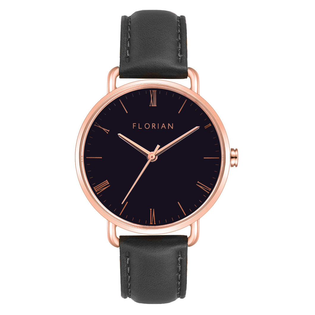 Classic Roman Black Dial Eagle Black and Rose Gold Watch | 36mm