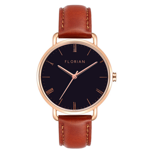 Classic Roman Black Dial Timber Tan and Rose Gold Watch | 36mm