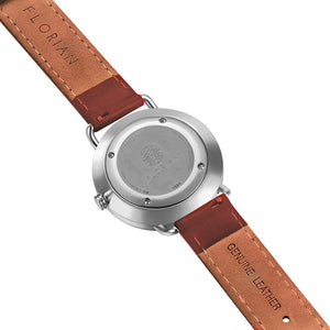 Classic Roman Turqouise Dial Silver Chic Timber Tan Strap Watch | 36mm