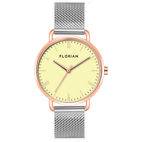 Classic Roman Lemon Yellow Dial Silver and Rose Gold Mesh Watch | 36mm
