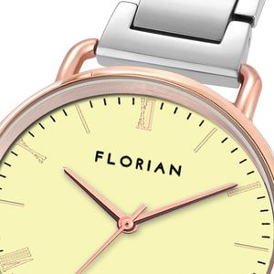 Classic Roman Lemon Yellow Dial Silver and Rose Gold Bracelet Watch | 36mm
