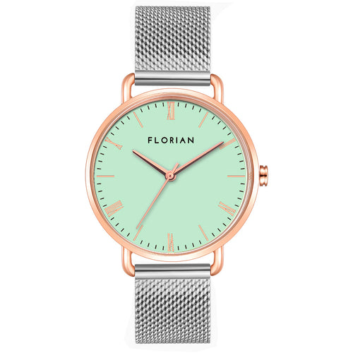 Classic Roman Palm Green Dial Silver and Rose Gold Mesh Watch | 36mm