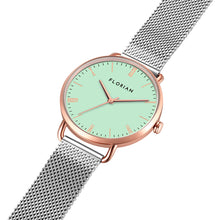 Classic Roman Palm Green Dial Rose Gold Silver Mesh Watch | 36mm