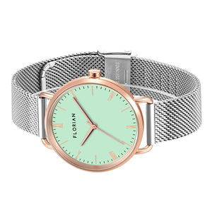 Classic Roman Palm Green Dial Rosy Gold Silver Chic Mesh Watch | 36mm