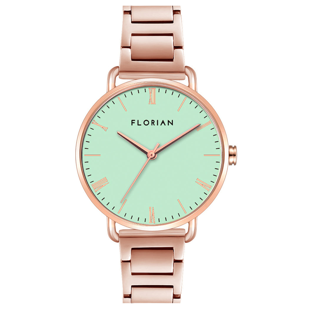 Classic Roman Palm Green Dial Rosy Gold Bracelet Watch | 36mm