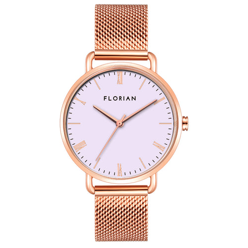 Classic Roman Milky Purple Dial Rose Gold Mesh Watch | 36mm