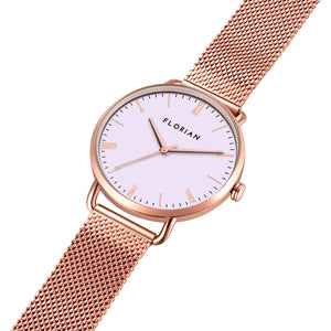 Classic Roman Milky Purple Dial Rosy Gold Mesh Watch | 36mm