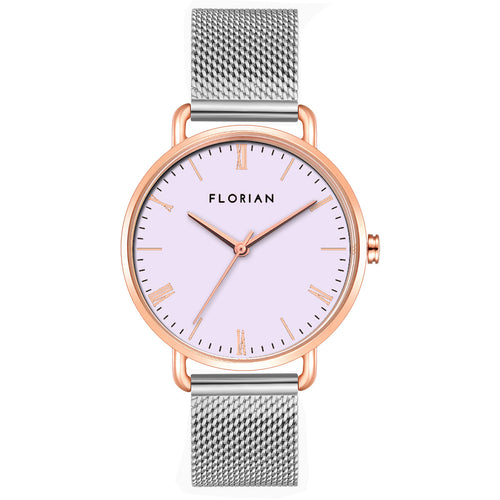 Classic Roman Milky Purple Dial Silver and Rose Gold Mesh Watch | 36mm