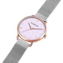 Classic Roman Milky Purple Dial Rosy Gold Silver Chic Mesh Watch | 36mm