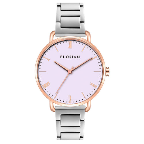 Classic Roman Milky Purple Dial Silver and Rose Gold Bracelet Watch | 36mm