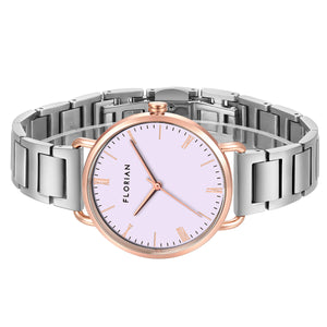 Classic Roman Milky Purple Dial Rosy Gold Silver Chic Bracelet Watch | 36mm