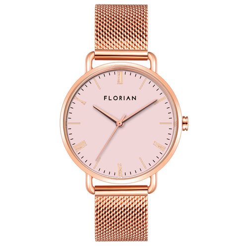 Classic Roman Pastel Pink Dial Rose Gold Mesh Watch | 36mm