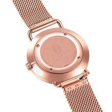 Classic Roman Pastel Pink Dial Rosy Gold Mesh Watch | 36mm