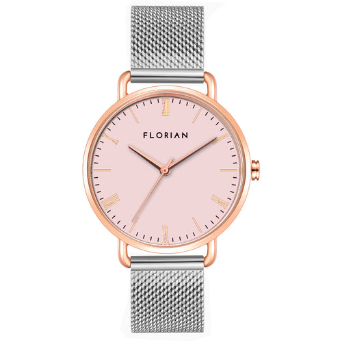 Classic Roman Pastel Pink Dial Silver and Rose Gold Mesh Watch | 36mm