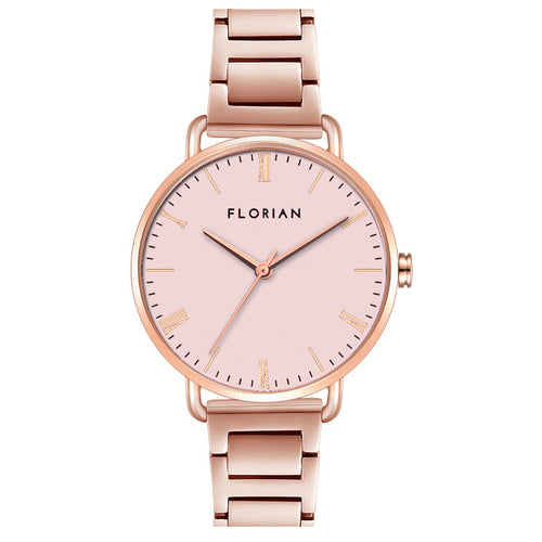 Classic Roman Pastel Pink Dial Rose Gold Bracelet Watch | 36mm