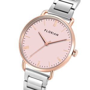 Classic Roman Pastel Pink Dial Silver and Rose Gold Bracelet Watch | 36mm