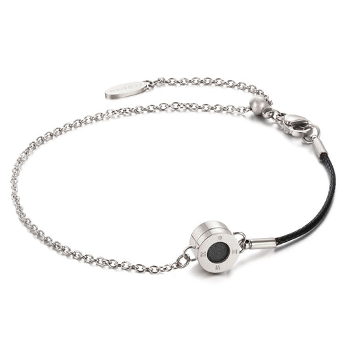 Rainbow Diamond Silver Chic Pure Black Aroma Bracelet