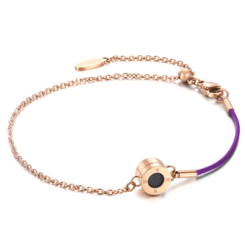 Rainbow Diamond Rosy Gold Bright Violet Aroma Bracelet