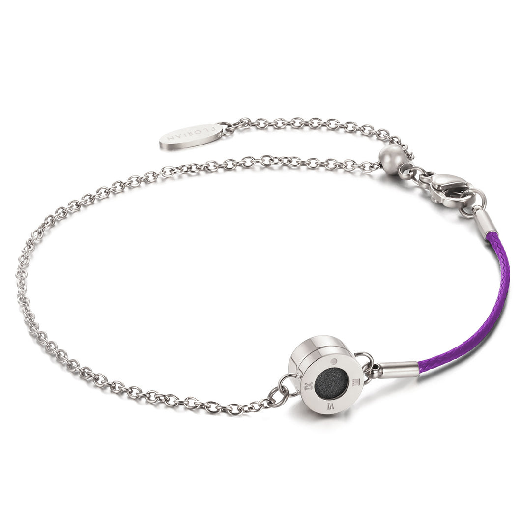 Aroma Rainbow Diamond Bright Violet and Silver Bracelet