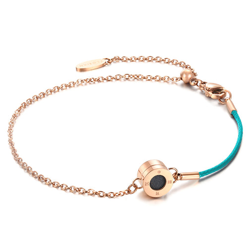 Rainbow Diamond Rosy Gold Aqua Green Aroma Bracelet
