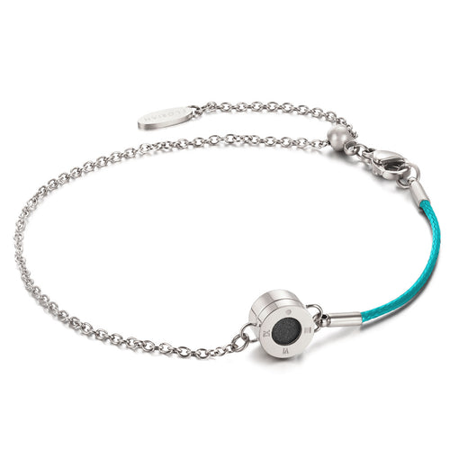 Rainbow Diamond Silver Chic Aqua Green Aroma Bracelet