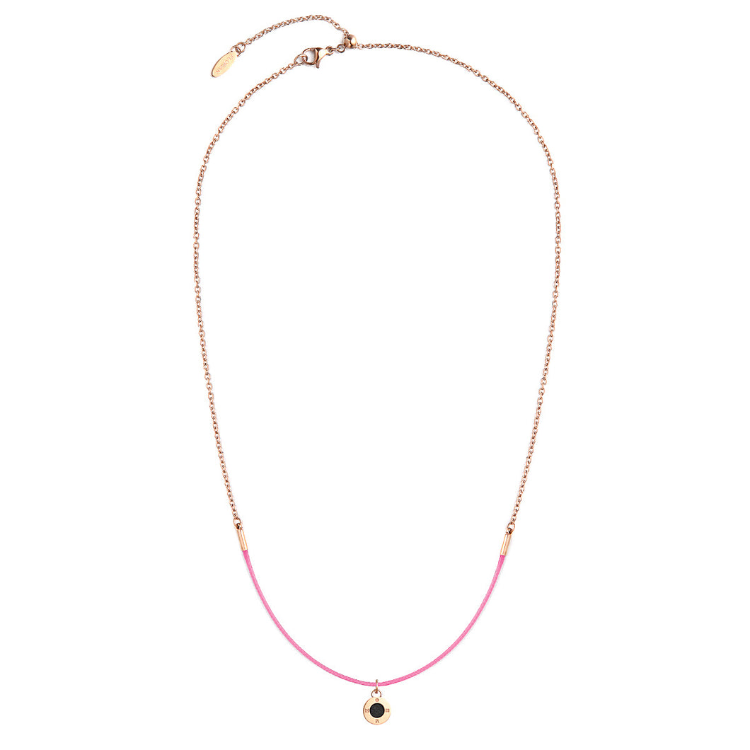 Rainbow Diamond Rosy Gold Sweet Pink Aroma Necklace