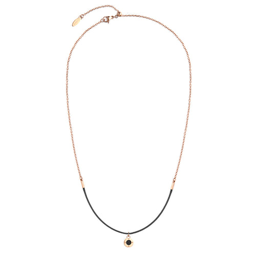 Rainbow Diamond Rosy Gold Pure Black Aroma Necklace