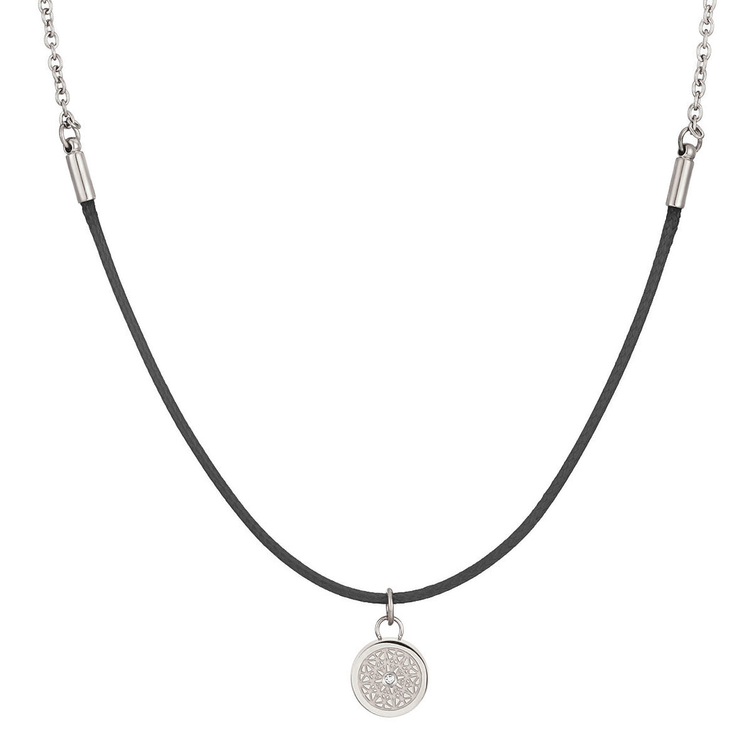 Aroma Rainbow Diamond Pure Black and Silver Necklace