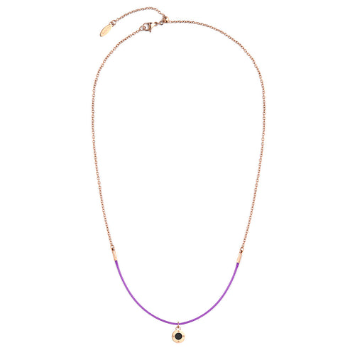 Rainbow Diamond Rosy Gold Bright Violet Aroma Necklace
