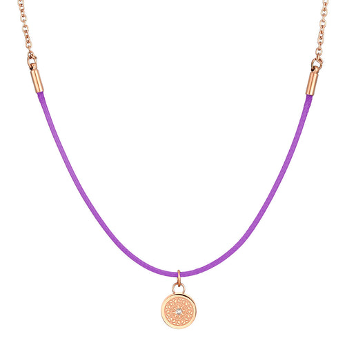 Aroma Rainbow Diamond Bright Violet and Rose Gold Necklace