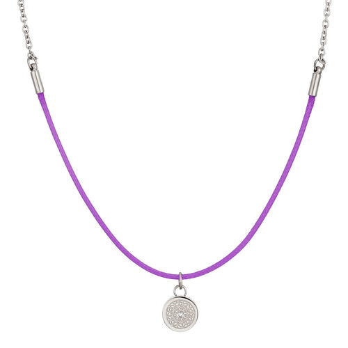 Aroma Rainbow Diamond Bright Violet and Silver Necklace